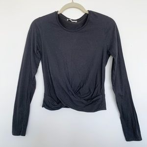 Zara Long Sleeve Stretch Shirt with knotted detail